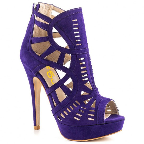Purple Cut out Platform Sandals Peep Toe Stiletto Heels Caged Sandals image 5
