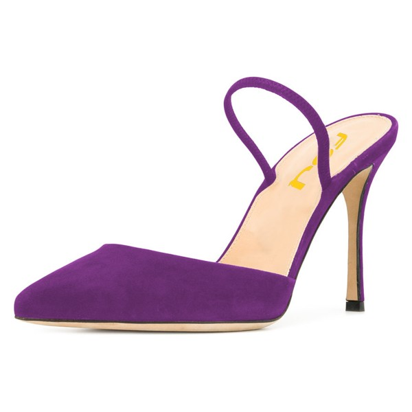 Purple Pointy Toe Mule Stiletto Heels Sandals for Women image 1