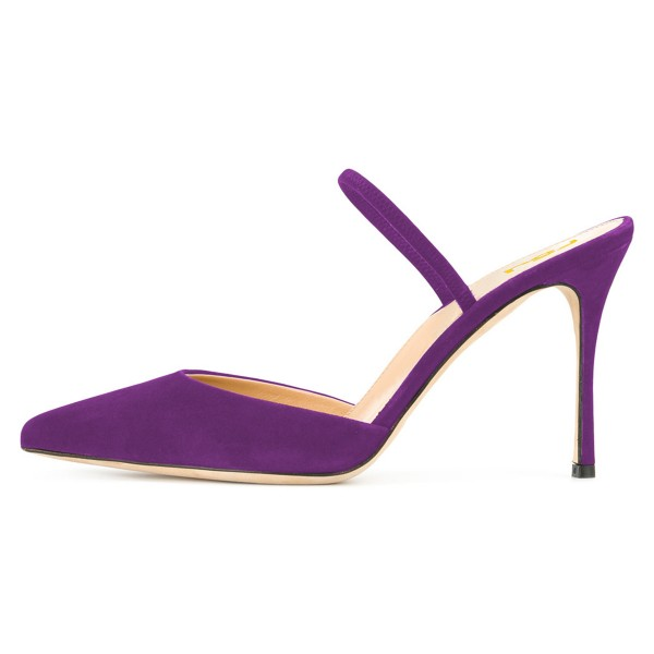 Purple Pointy Toe Mule Stiletto Heels Sandals for Women image 3
