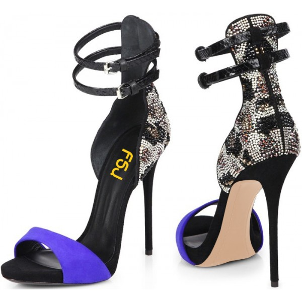 Blue Evening Shoes Ankle Strap Sandals Rhinestone Stiletto Heels image 1