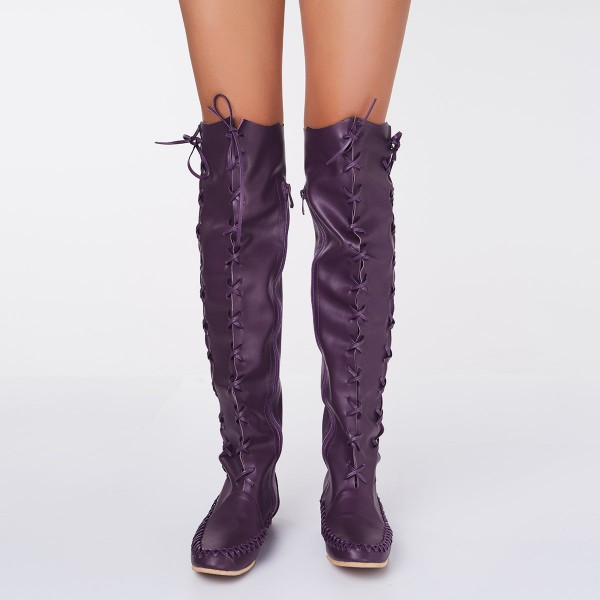Purple Knee Boots Round Toe Flat Comfortable Strappy Boots for Women image 4