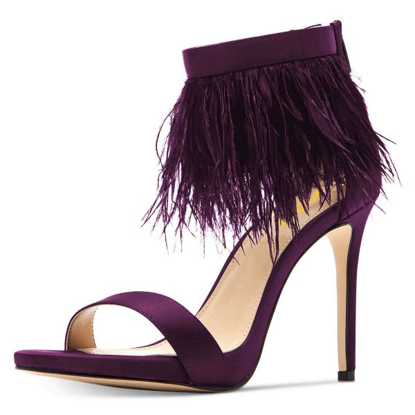 Purple Satin Ankle Strap Heels Feather