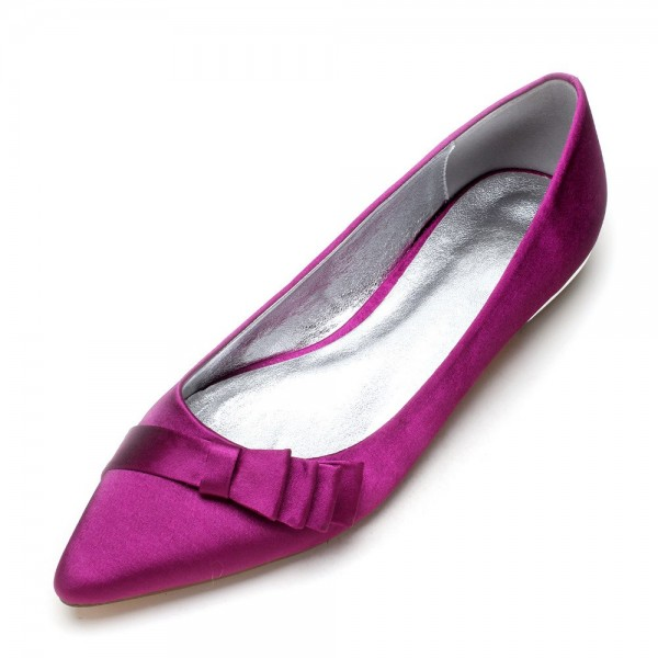 Purple Satin Bow Pointy Toe Flats for