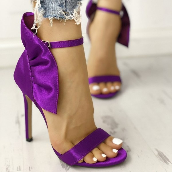 Purple Satin Ruffle Open Toe Stiletto Heel Ankle Strap Sandals image 2