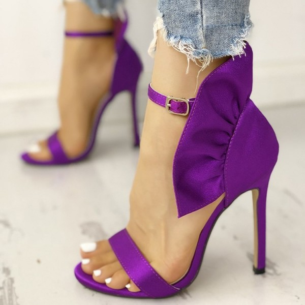 Purple Satin Ruffle Open Toe Stiletto Heel Ankle Strap Sandals image 3