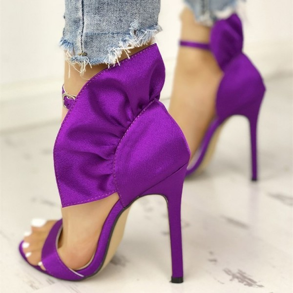 Purple Satin Ruffle Open Toe Stiletto Heel Ankle Strap Sandals image 4