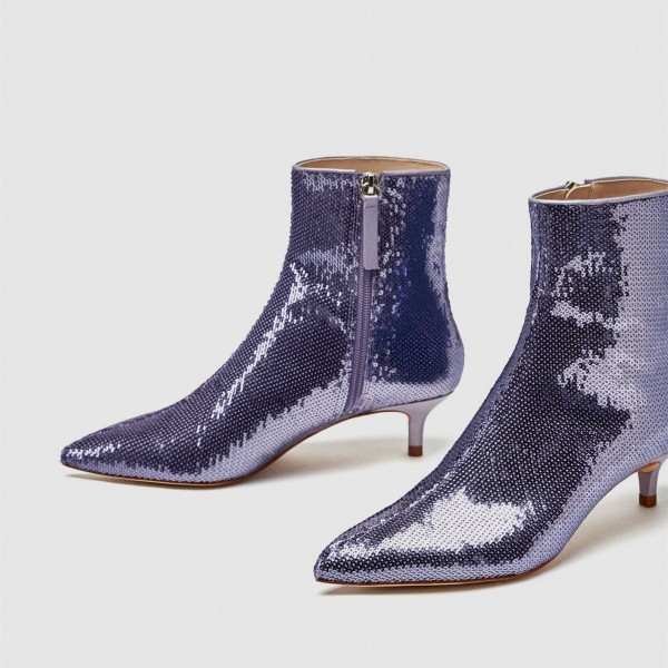 87fdb15e65f9 Purple Sequin Boots Pointy Toe Kitten Heel Ankle Booties for Party ...