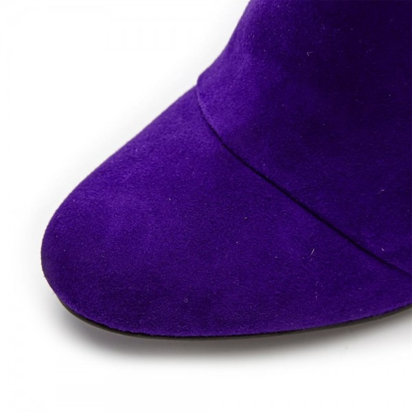Purple Stiletto Heels Fashion Boots Stitching Suede Knee High Boots  image 5