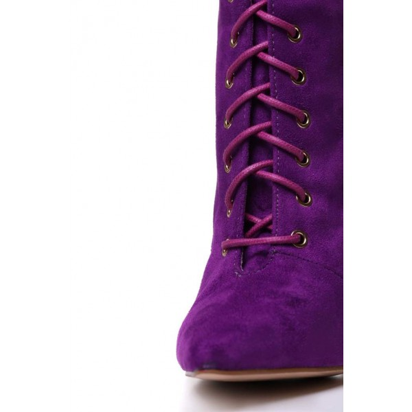 Purple Lace up Boots Pointy Toe Stiletto Heel Suede Ankle Booties image 2
