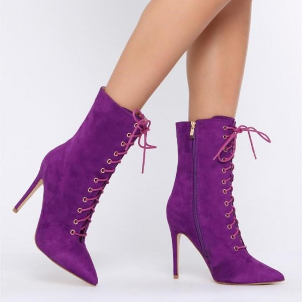 Purple Lace up Boots Pointy Toe Stiletto Heel Suede Ankle Booties image 3