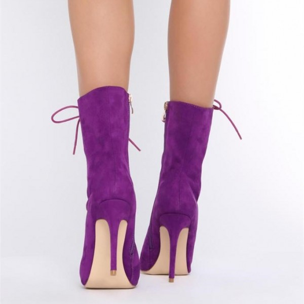 Purple Lace up Boots Pointy Toe Stiletto Heel Suede Ankle Booties image 4