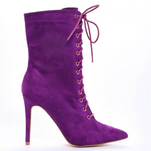 Purple Lace up Boots Pointy Toe Stiletto Heel Suede Ankle Booties image 5