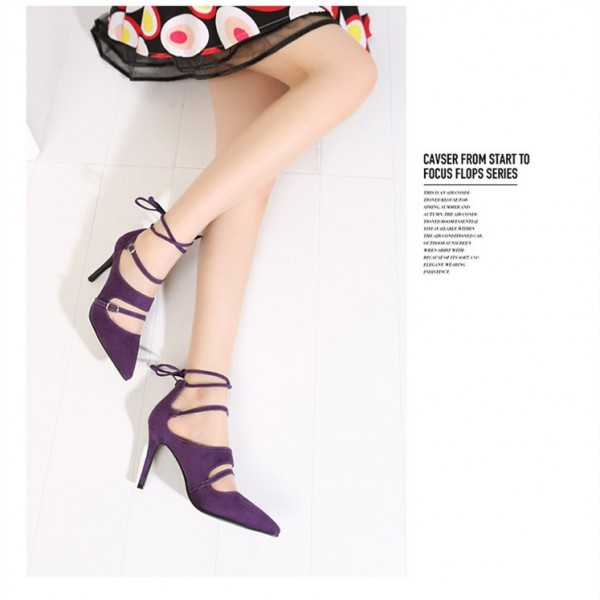 Purple Strappy Heels Buckles Pointy Toe Suede Pumps Stiletto Heels image 3