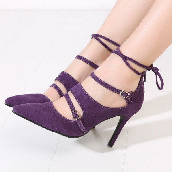 Purple Strappy Heels Buckles Pointy Toe Suede Pumps Stiletto Heels image 1