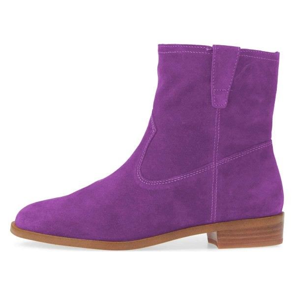 Purple Suede Flat Ankle Booties image 4
