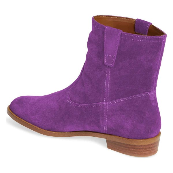 Purple Suede Flat Ankle Booties image 3