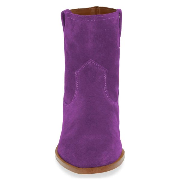 Purple Suede Flat Ankle Booties image 2