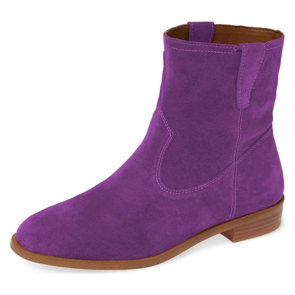 Purple Suede Flat Ankle Booties image 1