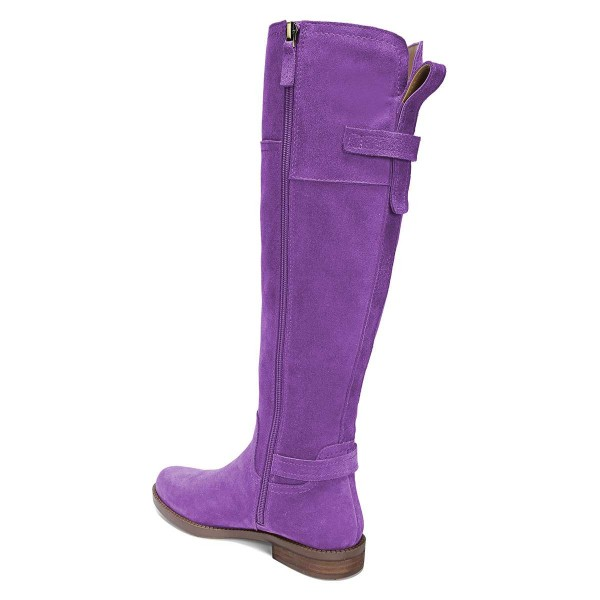 Purple Suede Flat Knee Boots Knee High Boots image 3