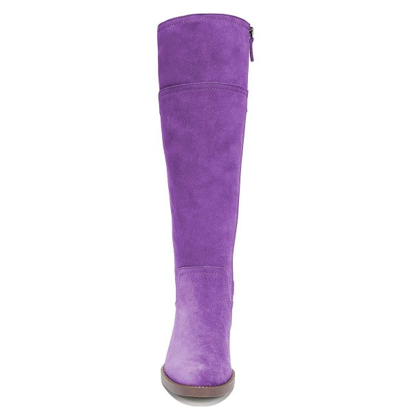 Purple Suede Flat Knee Boots Knee High Boots image 5