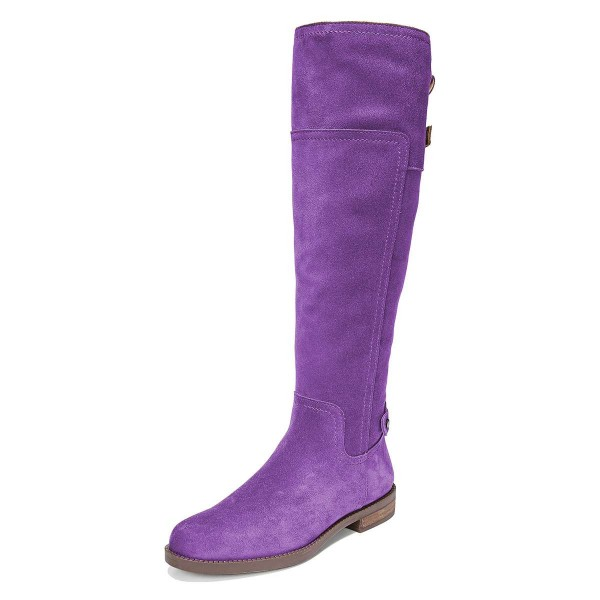 Purple Suede Flat Knee Boots Knee High Boots image 1