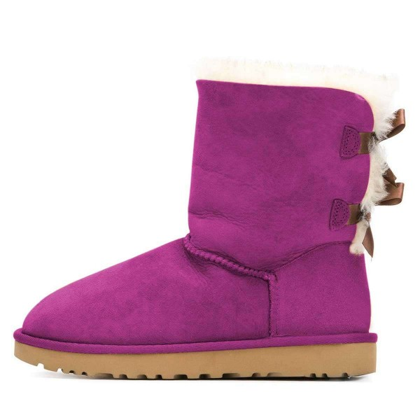Purple Suede Flat Winter Boots with Bow image 2