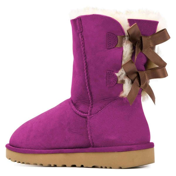 Purple Suede Flat Winter Boots with Bow image 3