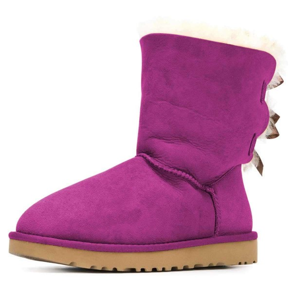 Purple Suede Flat Winter Boots with Bow image 1