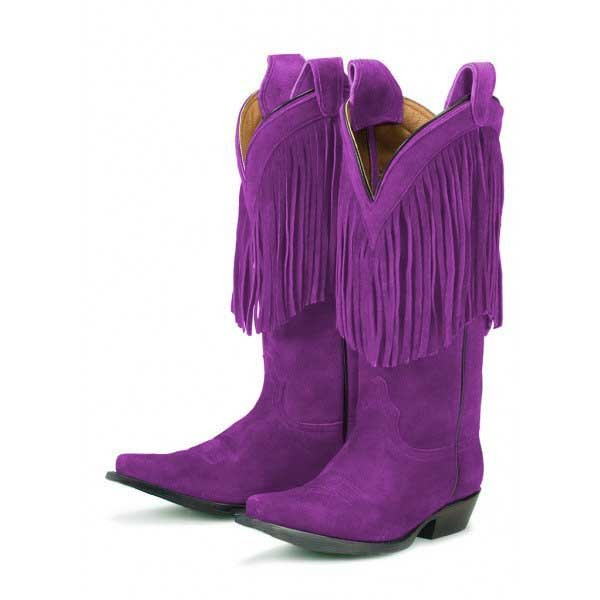 Purple Cowgirl Boots Fringe Mid Calf Suede Boots image 1