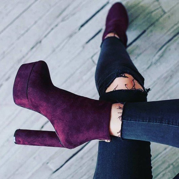 Purple Suede Platform Boots Ankle booties image 1
