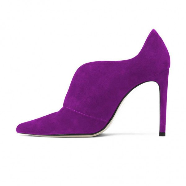 Purple Stiletto Boots Suede Pointy Toe Heeled Ankle Booties image 2