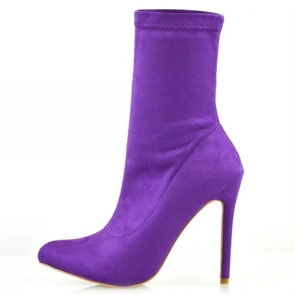 Purple Suede Sock Boots Closed Toe Stiletto Heel Fashion Ankle Booties image 3
