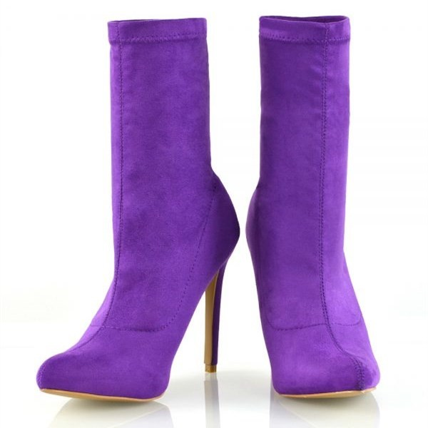 Purple Suede Sock Boots Closed Toe Stiletto Heel Fashion Ankle Booties image 5
