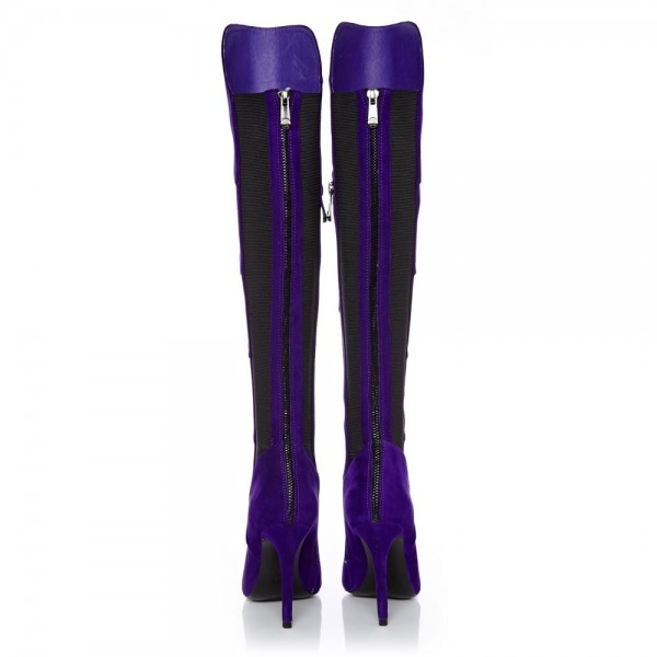 Purple Stiletto Heels Fashion Boots Stitching Suede Knee High Boots  image 6