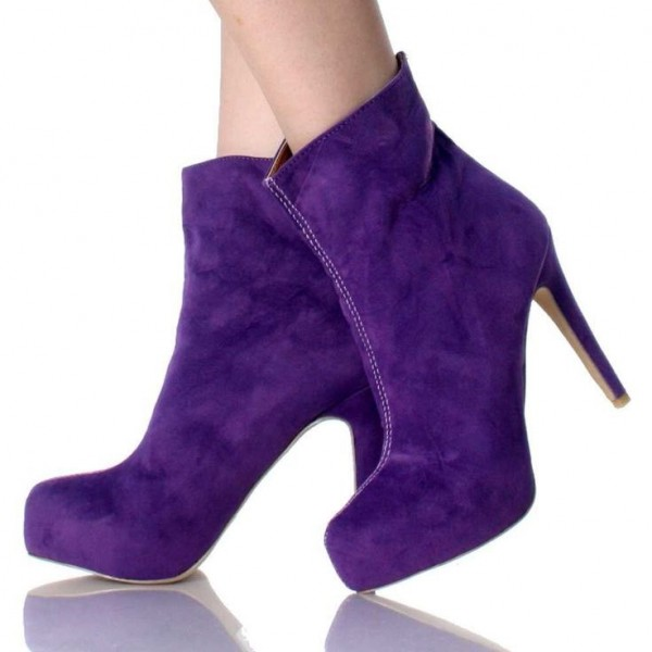 Purple Suede Stiletto Heels Fashion Boots Classy Platform Ankle Boots  image 1