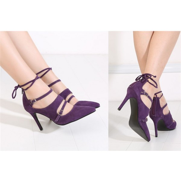 Purple Strappy Heels Buckles Pointy Toe Suede Pumps Stiletto Heels image 2