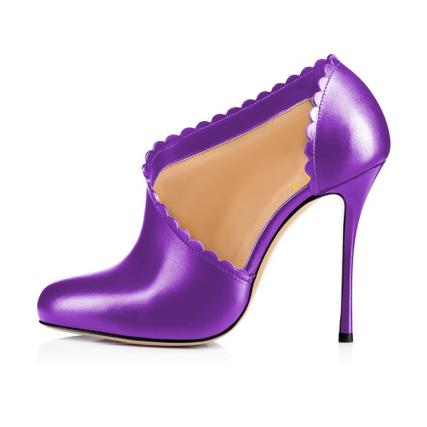 Purple Summer Boots Laciness Cut out Closed Toe Stiletto Heel Booties image 3