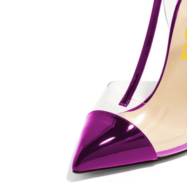Purple T Strap Sandals Mirror Leather Ankle Strap Clear Sandals image 3