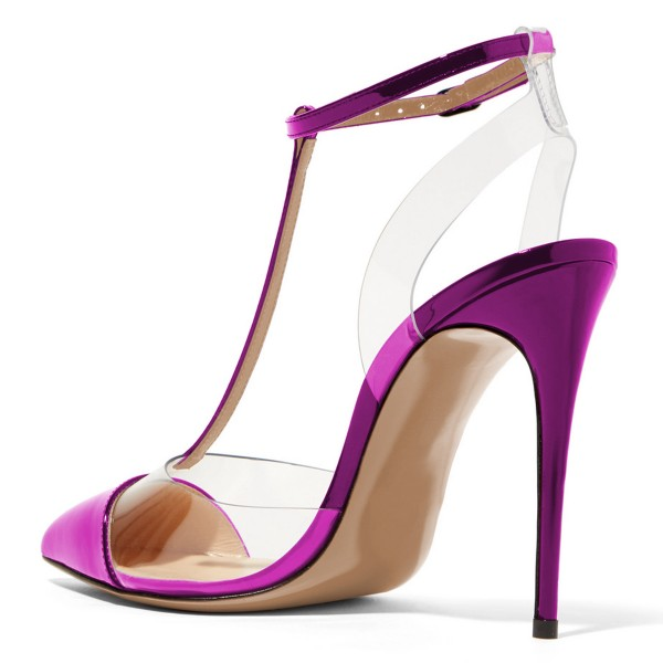 Purple T Strap Sandals Mirror Leather Ankle Strap Clear Sandals image 2