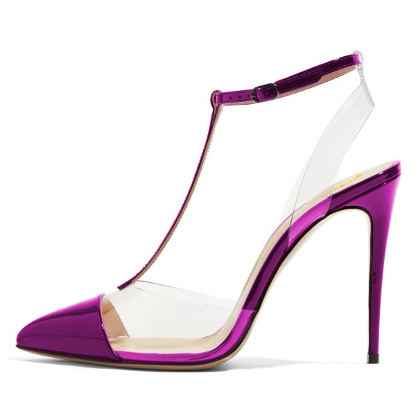 Purple T Strap Sandals Mirror Leather Ankle Strap Clear Sandals image 4