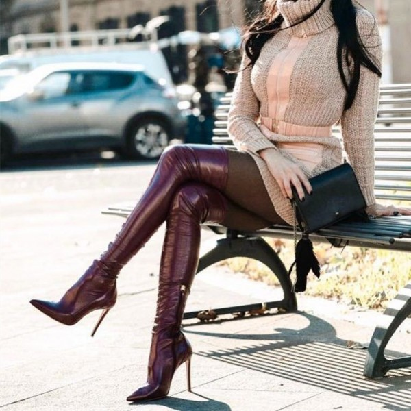 Maroon Thigh High Heel Boots Pointed Toe Stiletto Heels Boots image 1