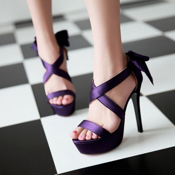 Purple Wedding Sandals Cross Ankle Strap Platform Sandals with Bow image 1