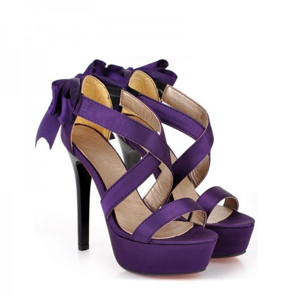 Purple Wedding Sandals Cross Ankle Strap Platform Sandals with Bow image 4