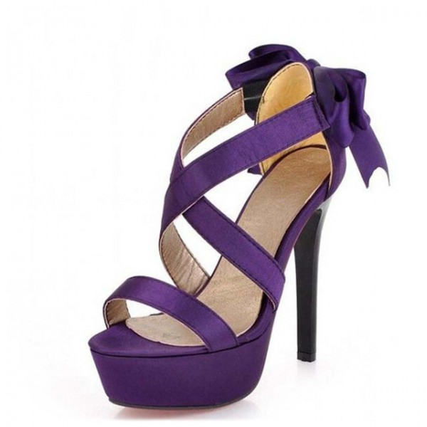 Purple Wedding Sandals Cross Ankle Strap Platform Sandals with Bow image 2
