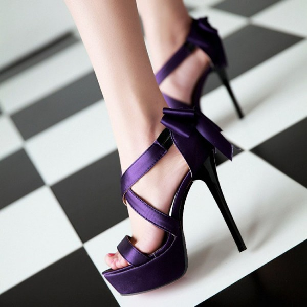 Purple Wedding Sandals Cross Ankle Strap Platform Sandals with Bow image 3