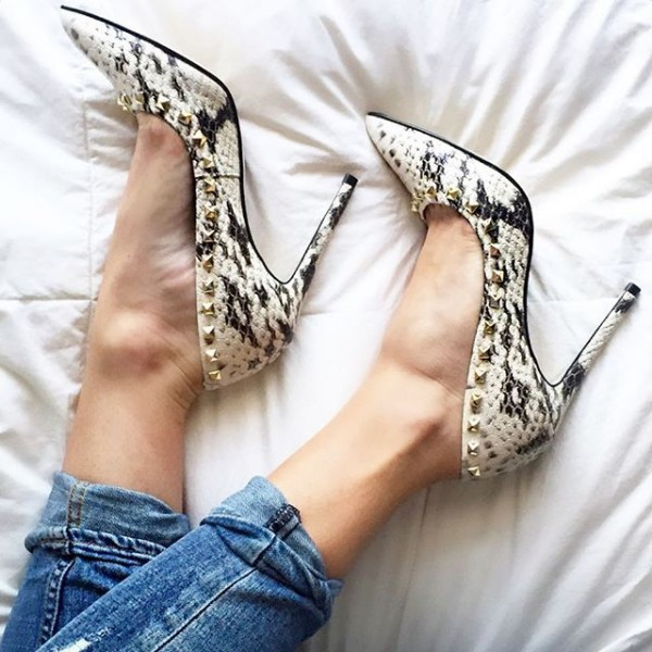 Python Black and White Heels Pointy Toe Stilettos Pumps with Rivets image 1