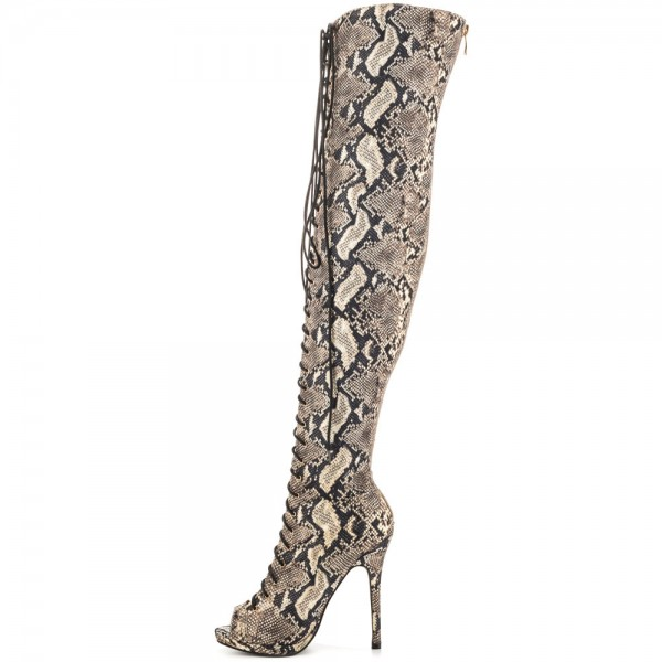 Python Thigh High Lace up Boots Peep Toe Stiletto Heel Long Boots image 3