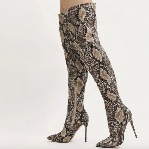245f8998611 Snakeskin Boots Pointy Toe Stiletto Heel Thigh High Boots for Party ...