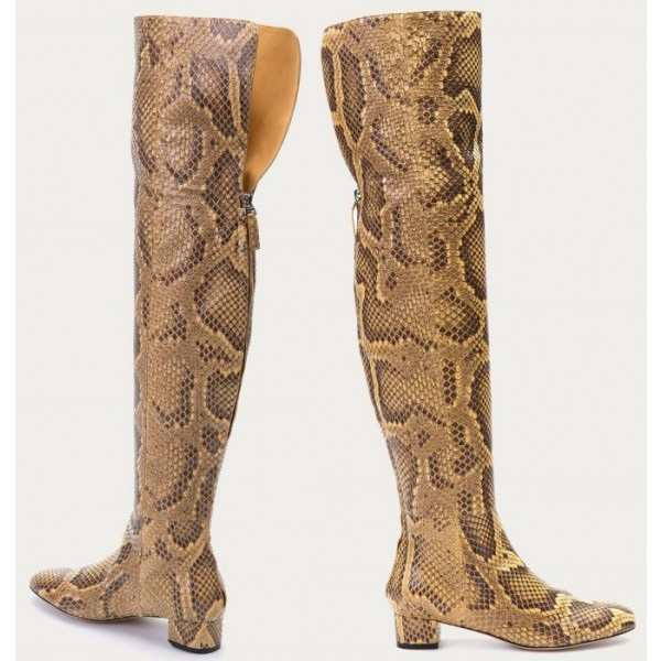 Python Print Long Boots Pointy Toe Chunky Heels Knee-over Boots image 2