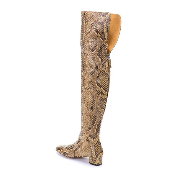 Python Print Long Boots Pointy Toe Chunky Heels Knee-over Boots image 6